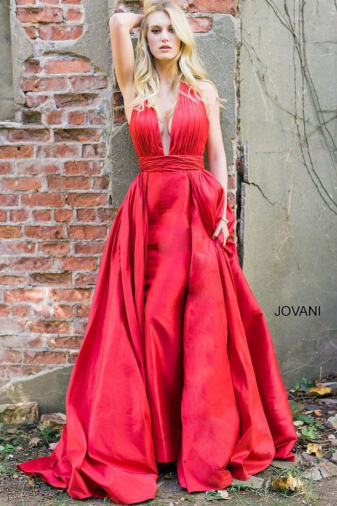 Red halter Neck Ruched Bodice Long Prom Dress 42843 | Gowns Red ...