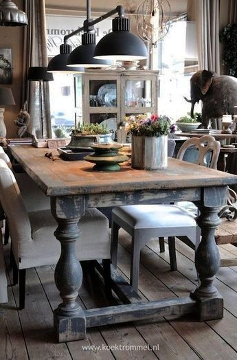 dining room table with chunky legs distressed finish Farmhouse table Awesome dining room table with chunky legs distressed finish Farmhouse table Awesome dining room tabl...