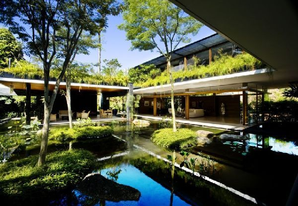 fantastic house indoor design. fantastic bungalows design with natural garden and pool  Linh s