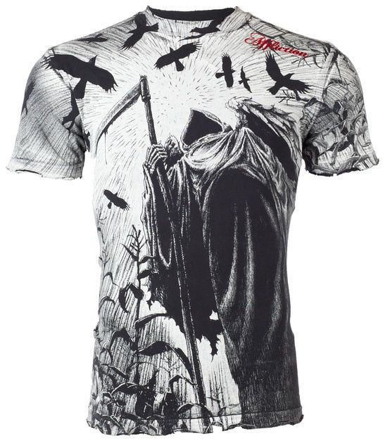 AFFLICTION Mens T-Shirt CORN REAPER Tattoo Fight Biker MMA UFC Vtg S-4XL $50 NWT #Affliction #GraphicTee