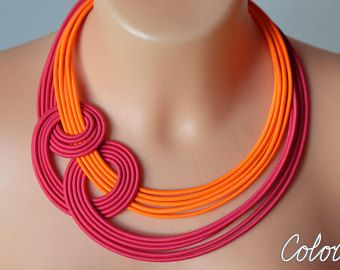 Neon orange and pink knot necklace, Unique knotted necklace, Colourful rope necklace, Statement pink necklace, Trendy necklace Colorika