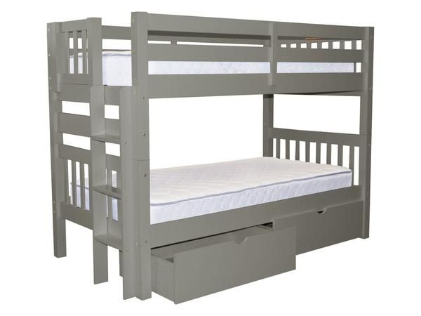 Best Bunk Bed Twin Over Twin End Ladder Gray Drawers Bunk 400 x 300