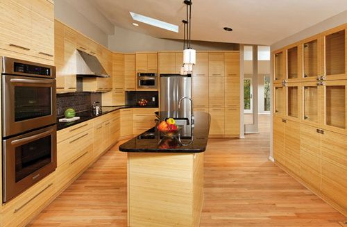 kitchen cabinets with bamboo flooring | wood kitchen cabinets