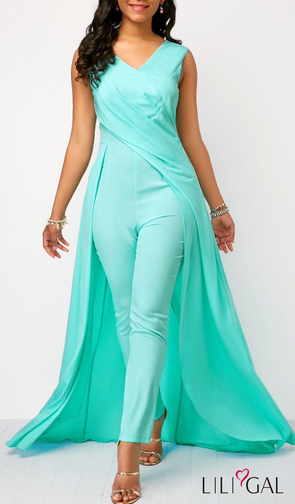 6a6a3270ca Sleeveless V Back Mint Green Jumpsuit  liligal  jumpsuits  womenswear   womensfashion