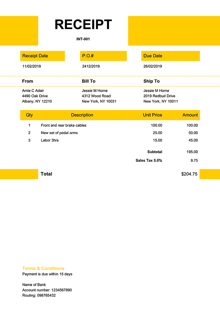 Receipt Template En Impact Yellow Receipt Template Invoice Template Templates
