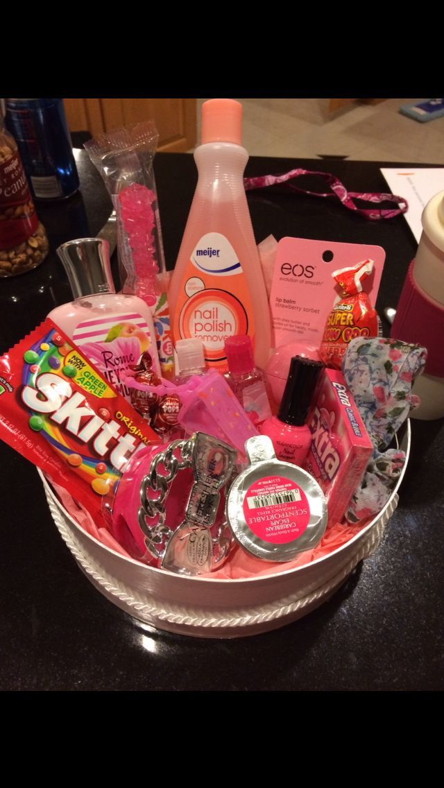 I made this color themed basket for my best friend'a 16th birthday. I'm  obsessed with these basket ideas! - I Made This Color Themed Basket For My Best Friend'a 16th Birthday
