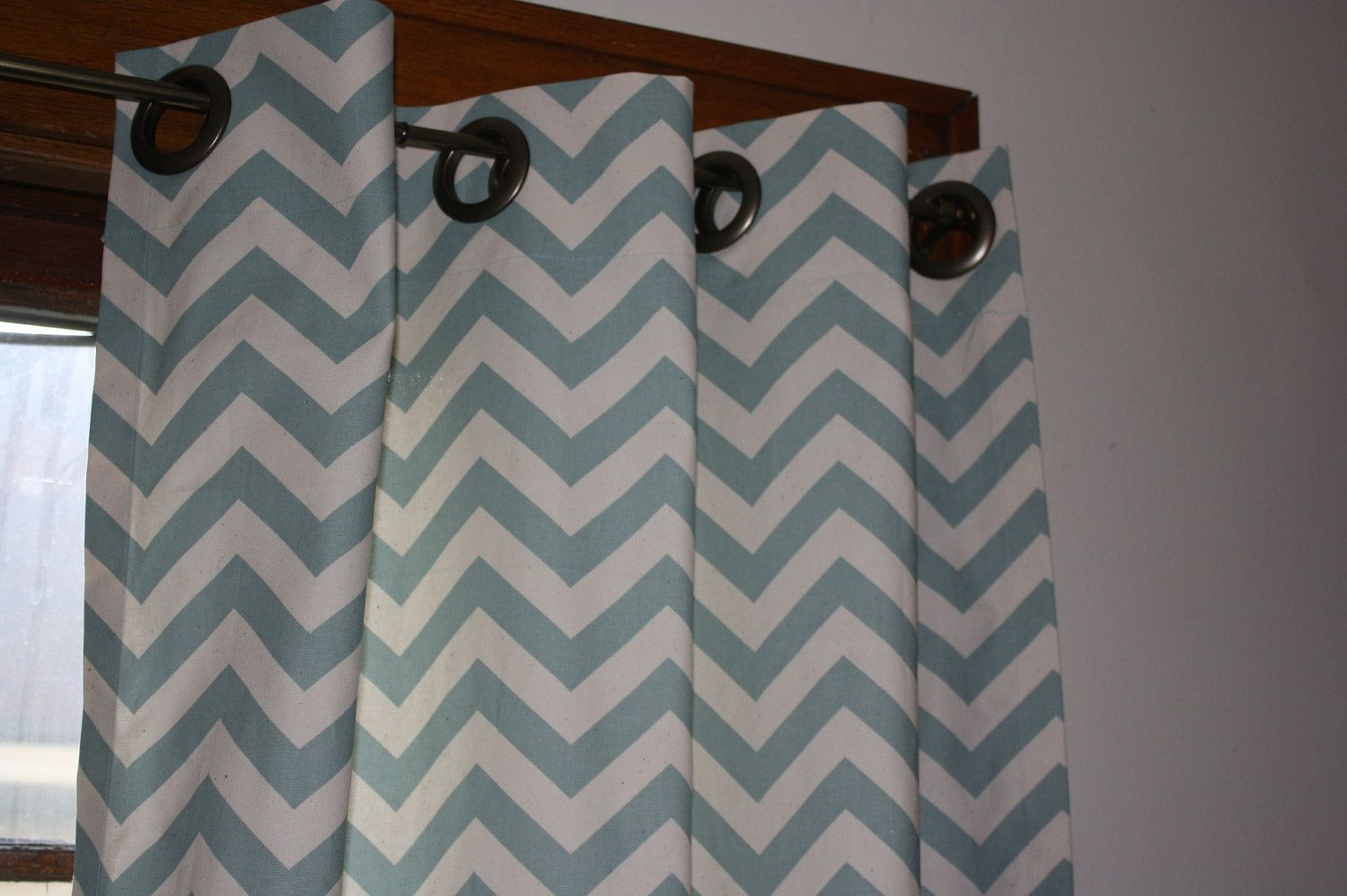Designer Zigzag Chevron Curtain Panels  Free Shipping 52 x 96 Pretty Blue Spa Grommets. $155.00, via Etsy.