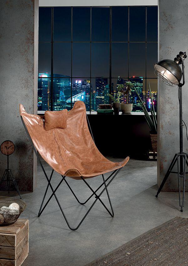 Fauteuil cuir BARRET Structure en fer Assise et dossier en cuir