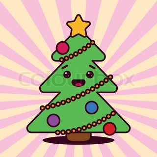 Kawaii Christmas Tree With Smiling Face Kawaii Christmas Evergreen Evergreen Trees