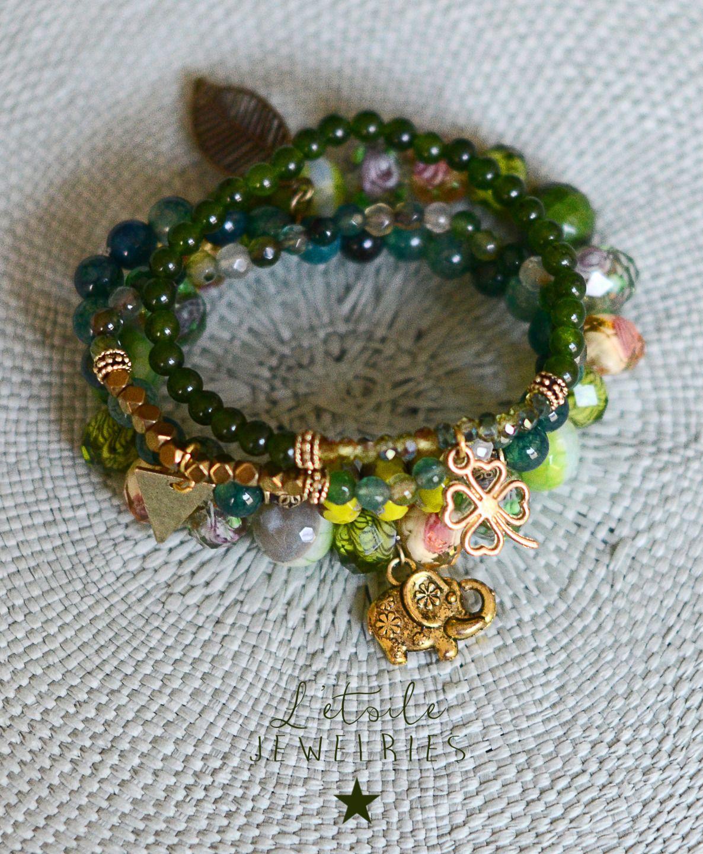 Ensemble de 4 bracelets en perles d'agate, pierres de gemme, vert, jaune, doré, charm breloque éléphant doré, trèfle, style : Bracelet par letoilejewelries