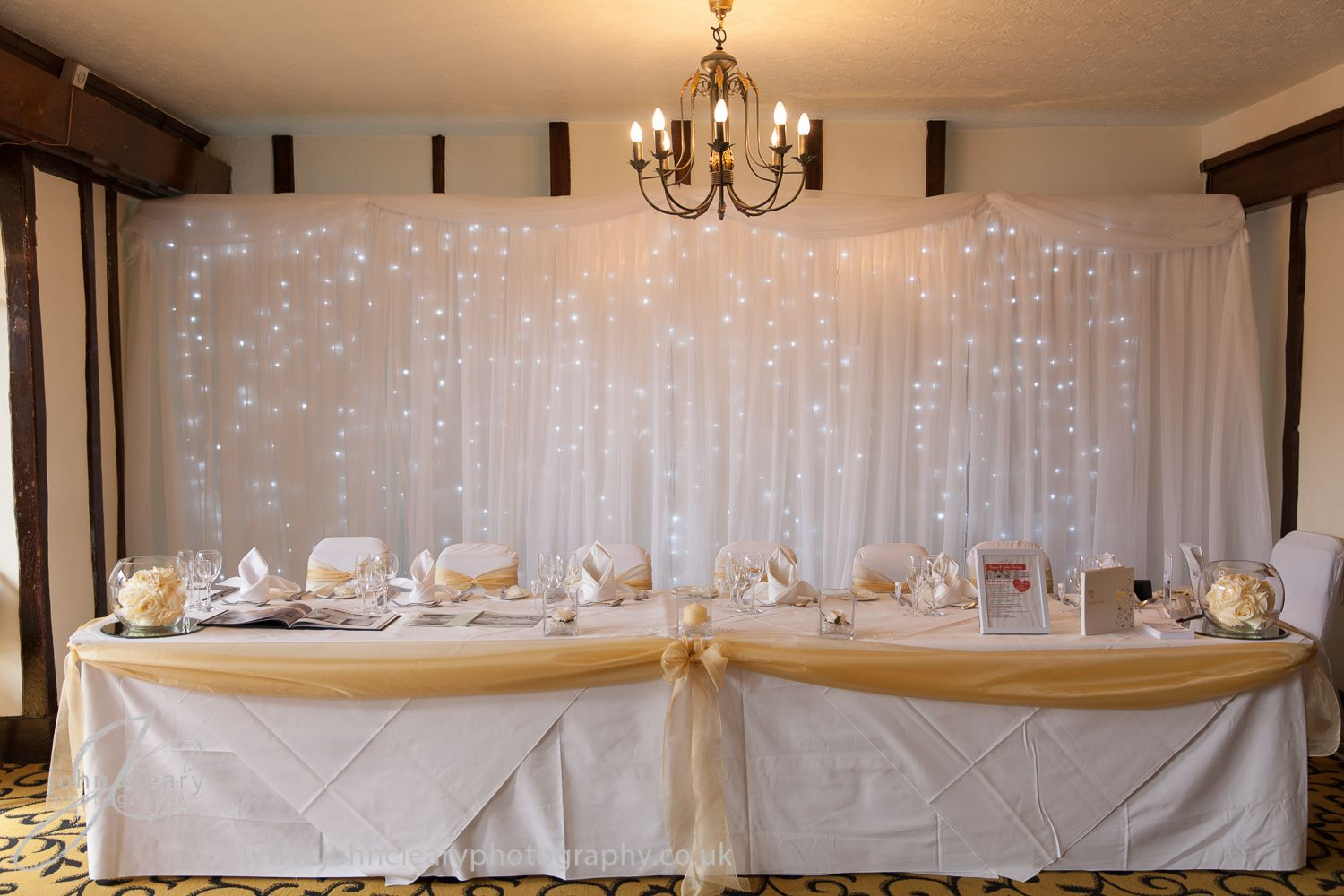 Gold Organza Top Table Swag With White Wedding Backdrop Www Dedicated2detail Co Uk