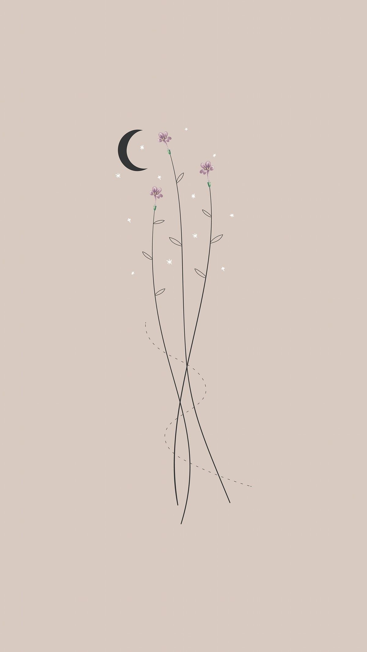 580+Download premium vector of Flowers and the moon mobile phone wallpaper vector by marinemynt about wallpaper, boho, moon, iphone wallpaper, and bohemian 1227217