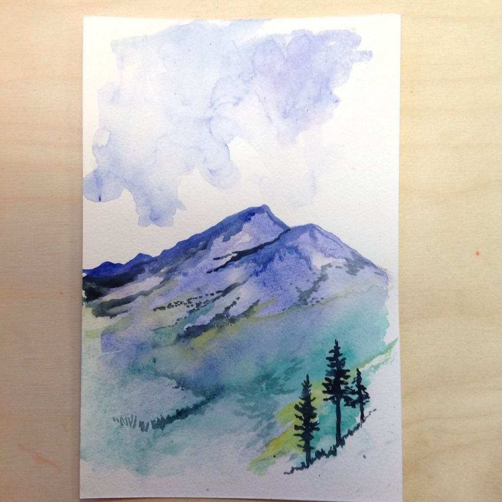 Alpine Fields And Mountain Range Watercolor Aquarelle Peinture