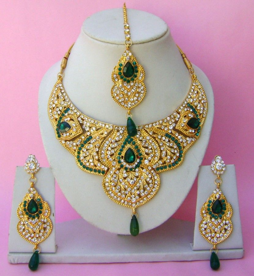 N22795 Semi Bridal Artificial Jewellery Necklace Set with Tika ...