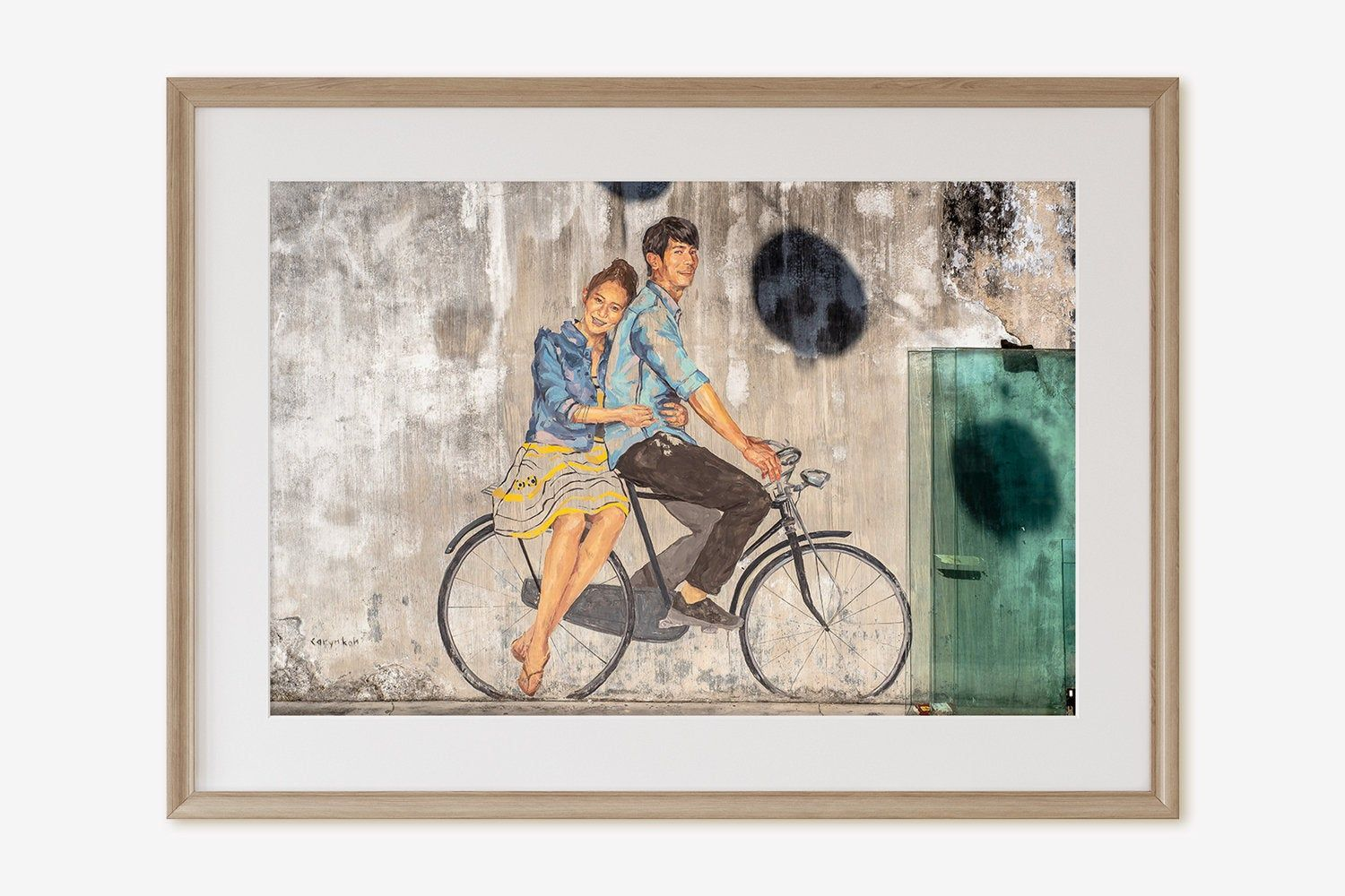 Lovers on bike fine art print bicycle canvas art penang malaysia photography street