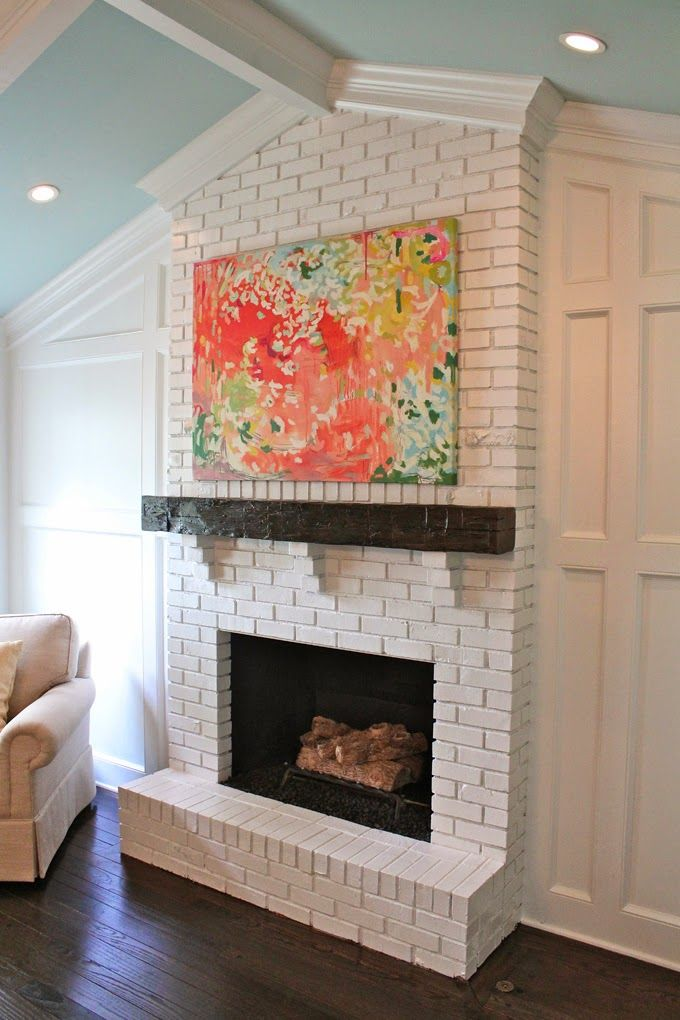 Fireplace Design painting brick fireplace white : warm gray with bright white details look good with the floor ...