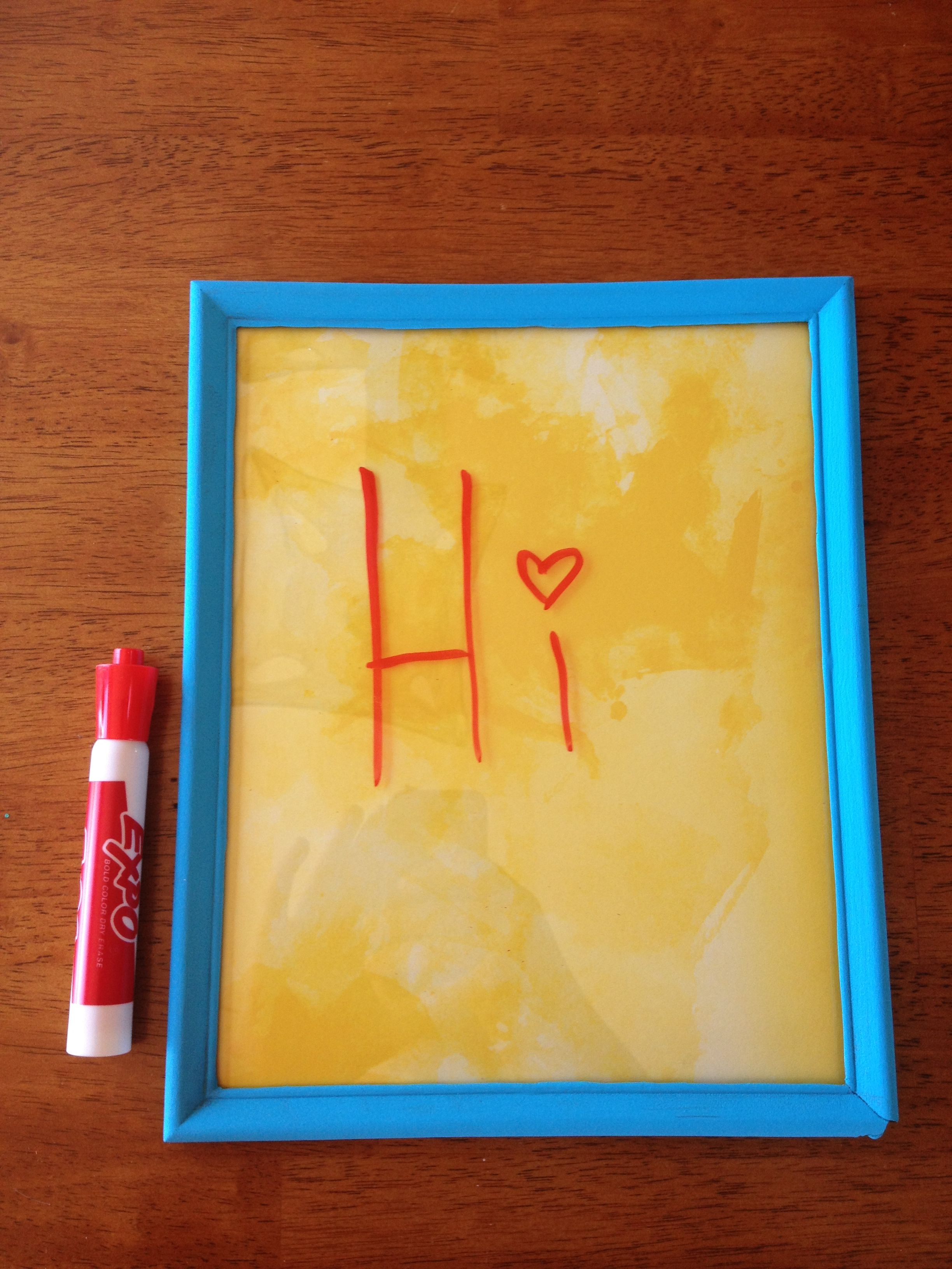 DIY dry-erase board. Made with cheap frame from dollar general and ...