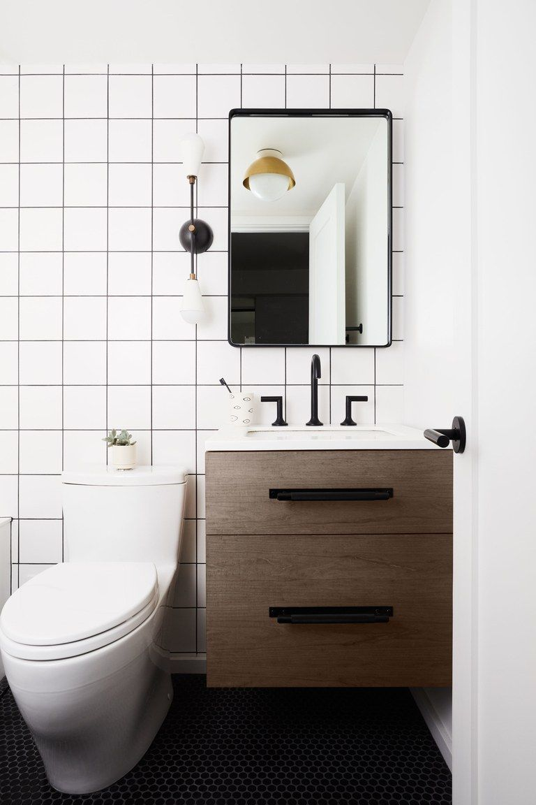 See How This Nyc Apartment Went From Lackluster To Light Filled Black Bathroom Vanity Decor Interior Design [ 1152 x 768 Pixel ]