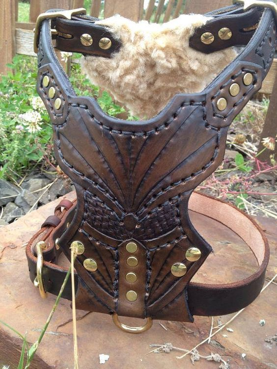 Leather Dog Harness Custom Leather Hand Tooled Dog Harness