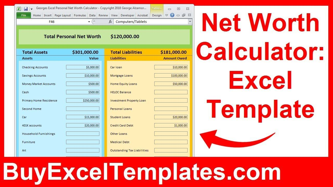 Net Worth Calculator Excel Spreadsheet How to calculate
