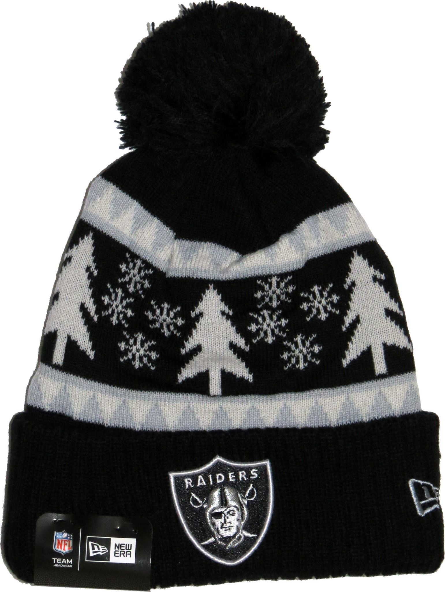 492b8303ec2 Oakland Raiders New Era NFL Team Snow Pine Bobble Hat