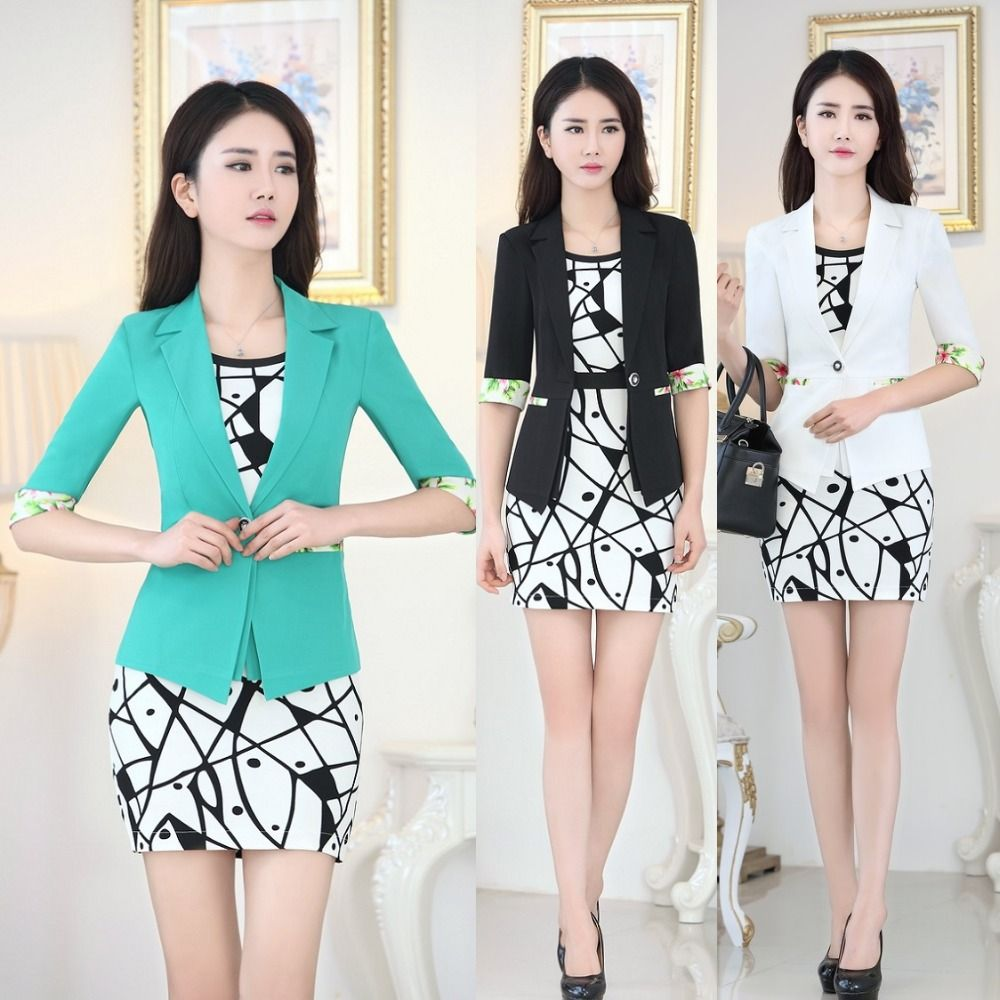 wholesale New 2016 Spring Formal Blue Blazer Women Dress Suits ...