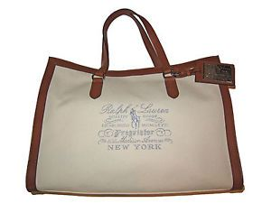 c599b1d741 Ralph Lauren Collection Polo Proprietor Cream White Canvas Leather Handbag  Bag