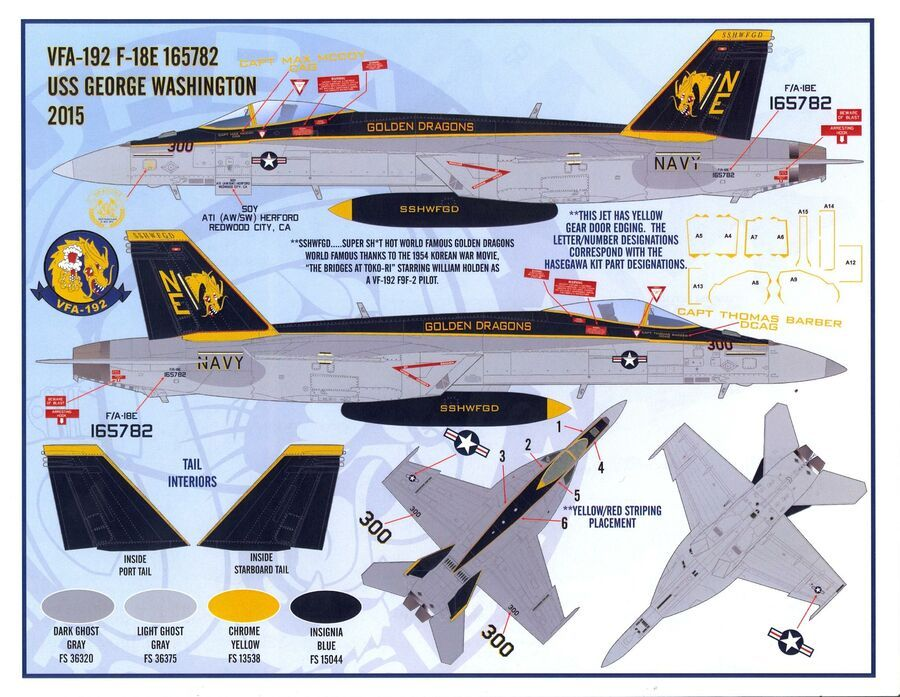 Furball Decals 1//48 BOEING F//A-18E//F SUPER HORNET Air Wing All Stars Part 3