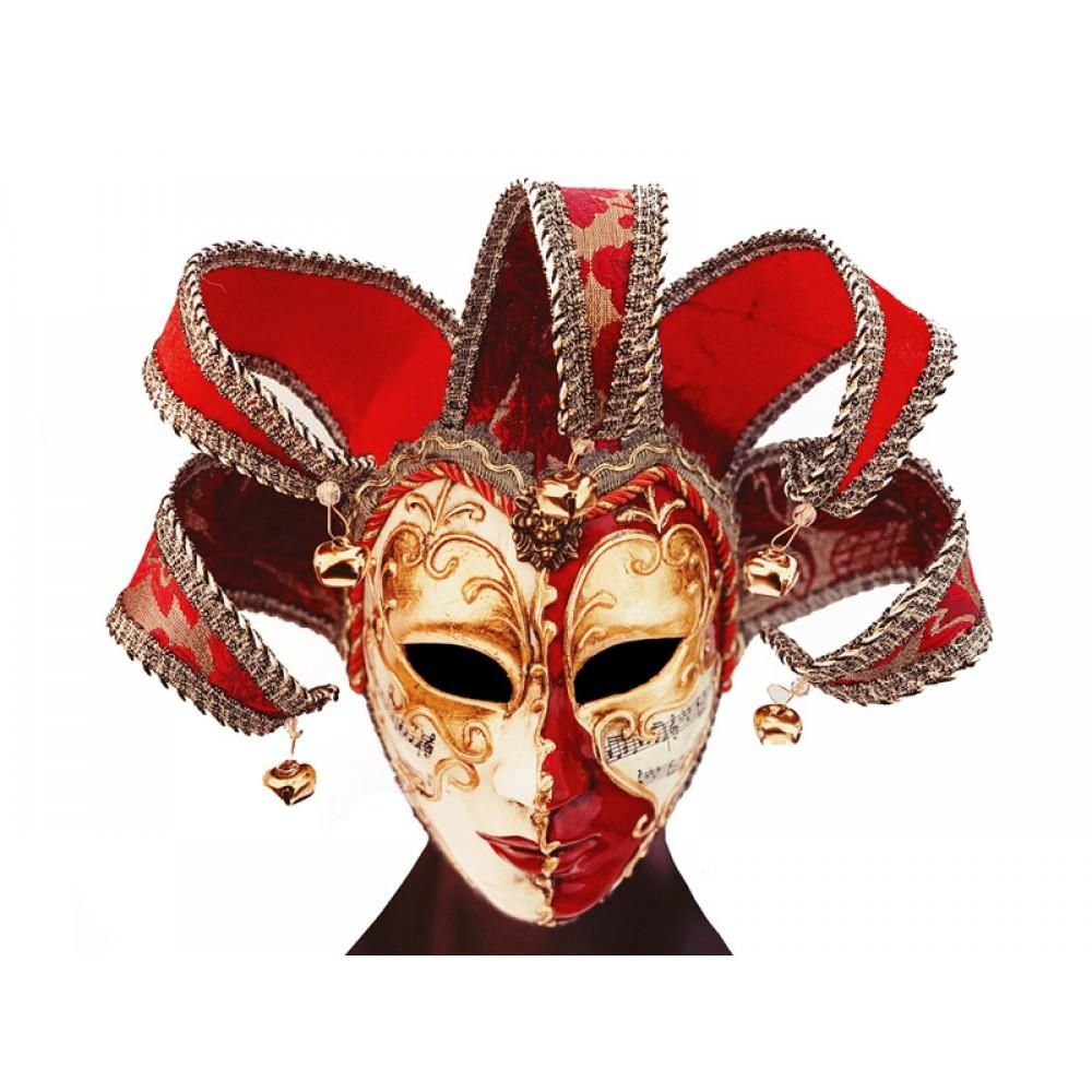 Photo of Jester Joker Mask Venetian Masquerade Full Face Costume Party Cosplay Mardi Gras Mask
