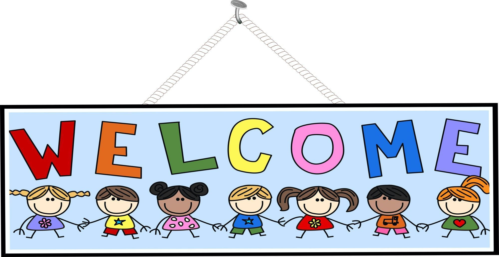Kids Welcome Sign with Light Blue Background and Rainbow Letters ...