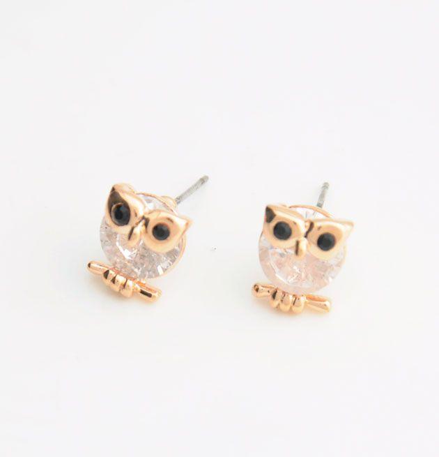 Cute Cubic Zirconia Owl Stud Earrings
