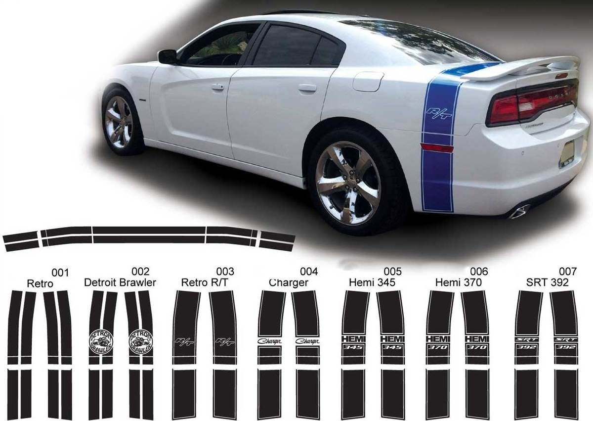 Choose Color Dodge Charger 2011-2014 Rally Sport Side Double Stripes Decals