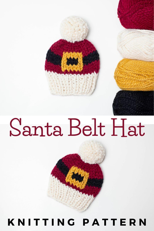Santa Belt Hat Knitting Pattern Children Baby Women