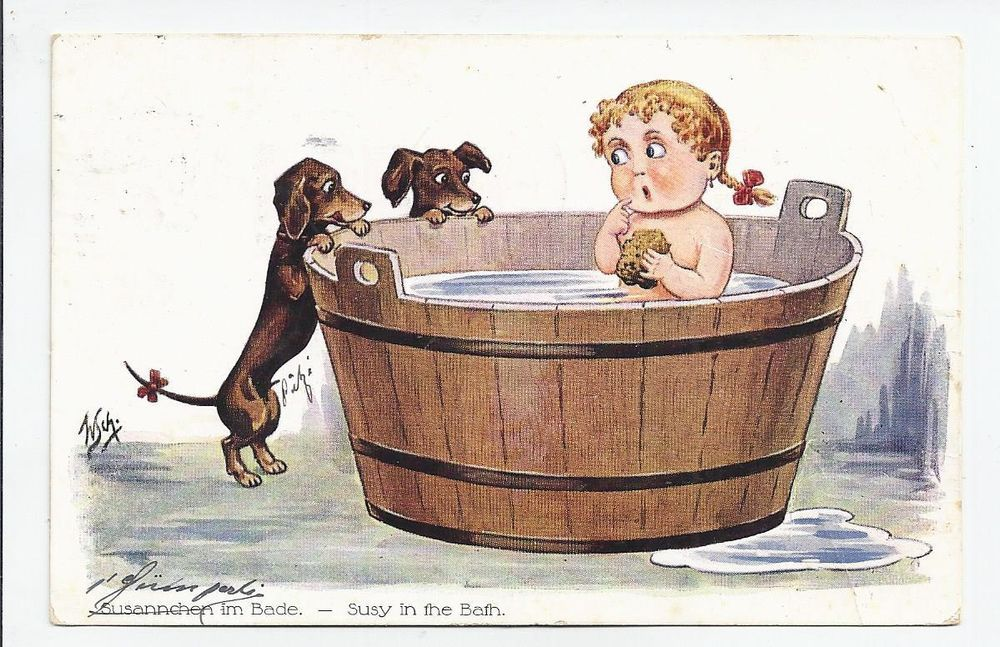 W. Schermele - Baby Girl i Bath Tub watched by Dachshund Puppies ...