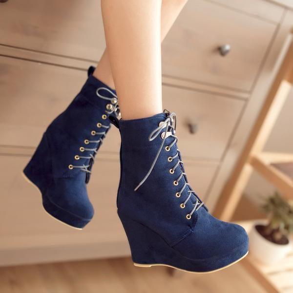 Lace Up Suede Wedge Short Boots Plus Size Women Shoes 4142 – meetfun