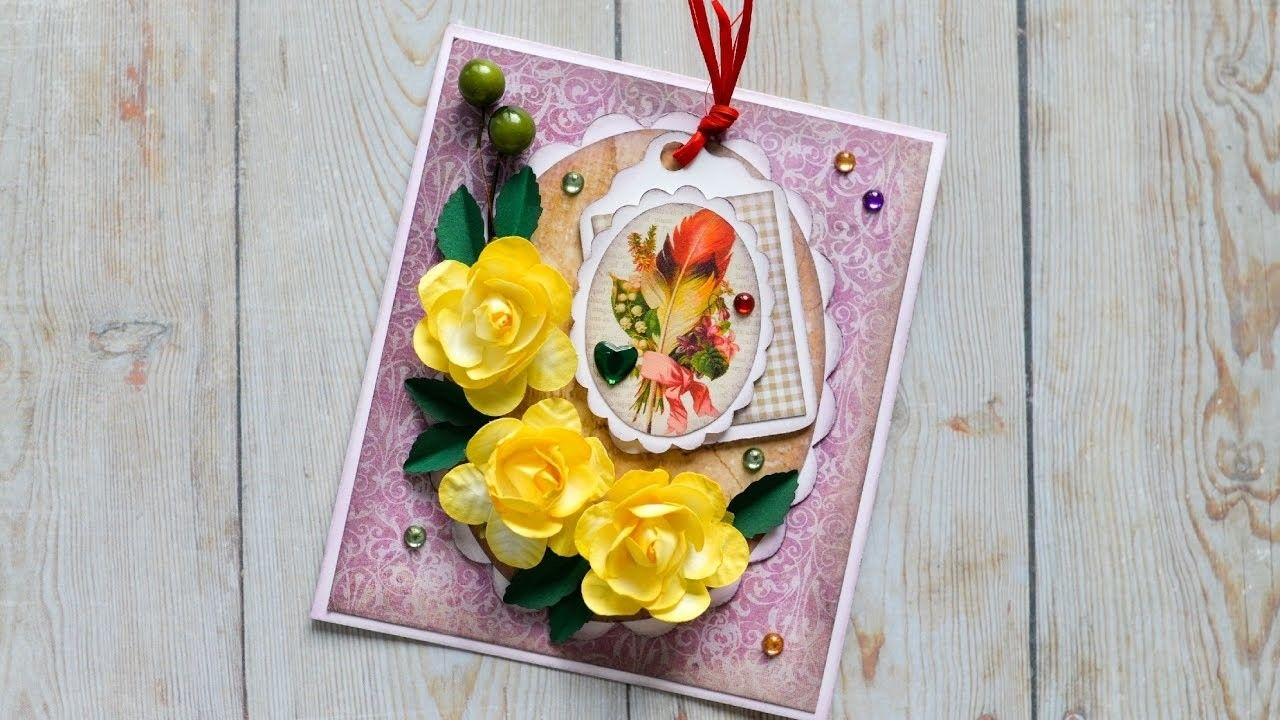 How to make greeting card grandmother mother birthday step by