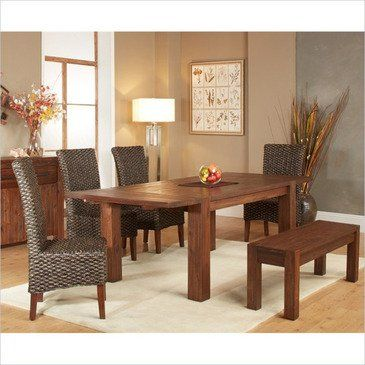 Modus Meadow 7 Piece Solid Wood Extending Dining Room Set W Bench Amusing Dining Room Sets Solid Wood Inspiration