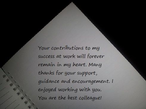 thank you message for colleague with sample letters