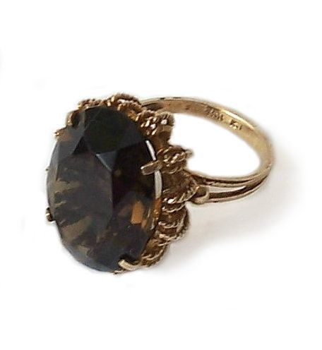 Vintage Smoky Topaz Cocktail Ring marked by MargsMostlyVintage, $360.00