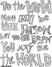 One Person To World Quote Coloring Pages Inspirational
