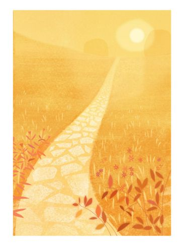 Golden Path in Sunlight - orange / peach print for BR?