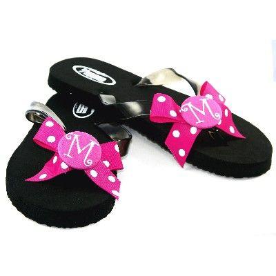 d96593429 Monogrammed Flip Flops~Hot Pink Dot