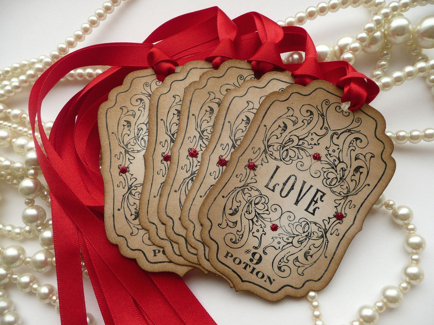 Gothic Wedding Favor Tags Love Potion 9 Gift Tags Vintage