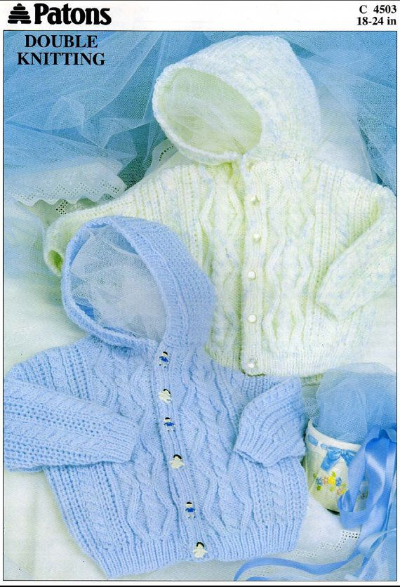 Vintage PDF BABY Knitting Pattern - Patons 4503 - hooded cardigan on ...