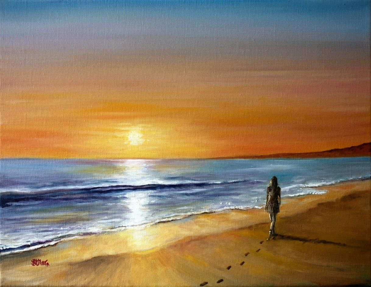 Sunset Beach By Marian Martin 16x12 Oil Painting Available From