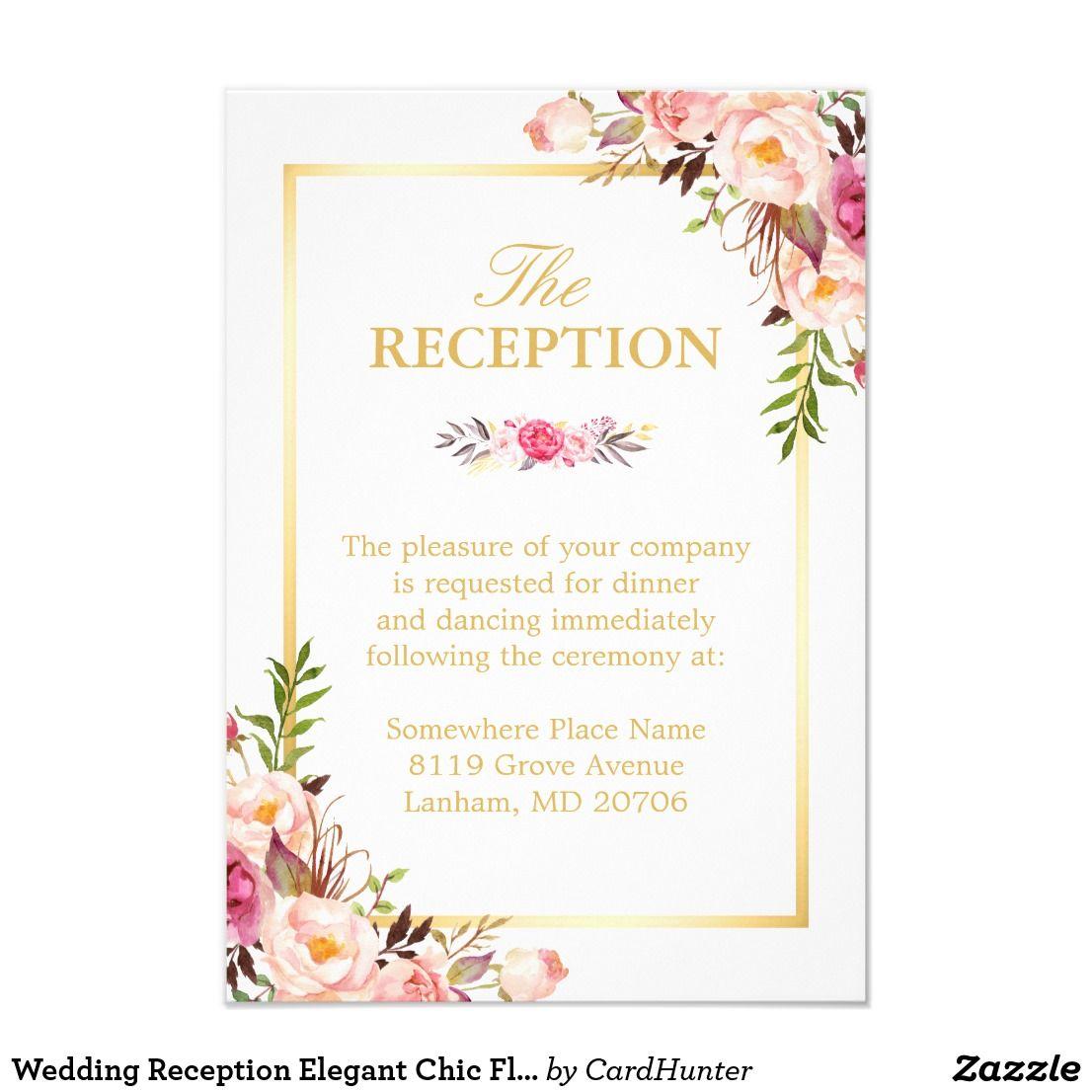 Wedding Reception Elegant Chic Floral Gold Frame Card | Elegant chic ...
