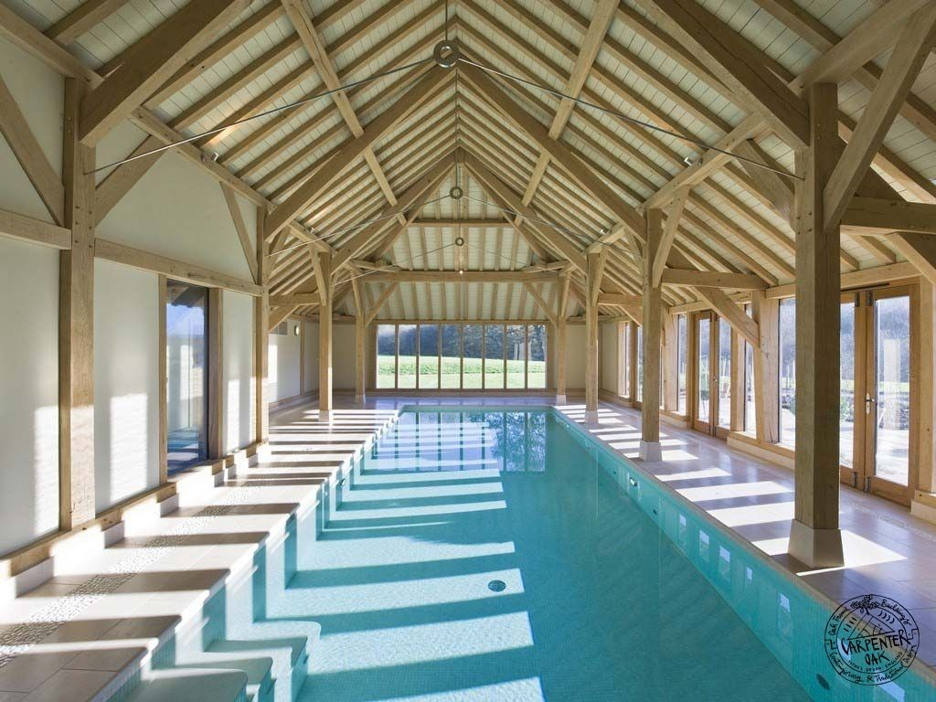 Green Oak Timber Framed Swimming Pool Enclosure Extension On New Build Farmhouse In West Sussex