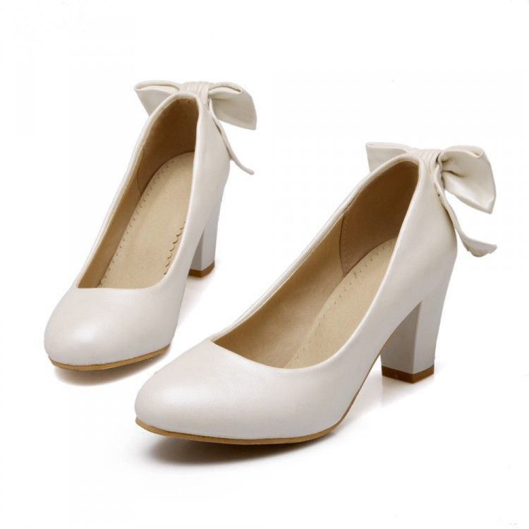 Cute Stylish Hip Heels Great For Any Office Or Party Bow On The Back Gives It A Stylish Touch 7 Cm Heel Made From Pu Avai Heels Work Shoes High Heels