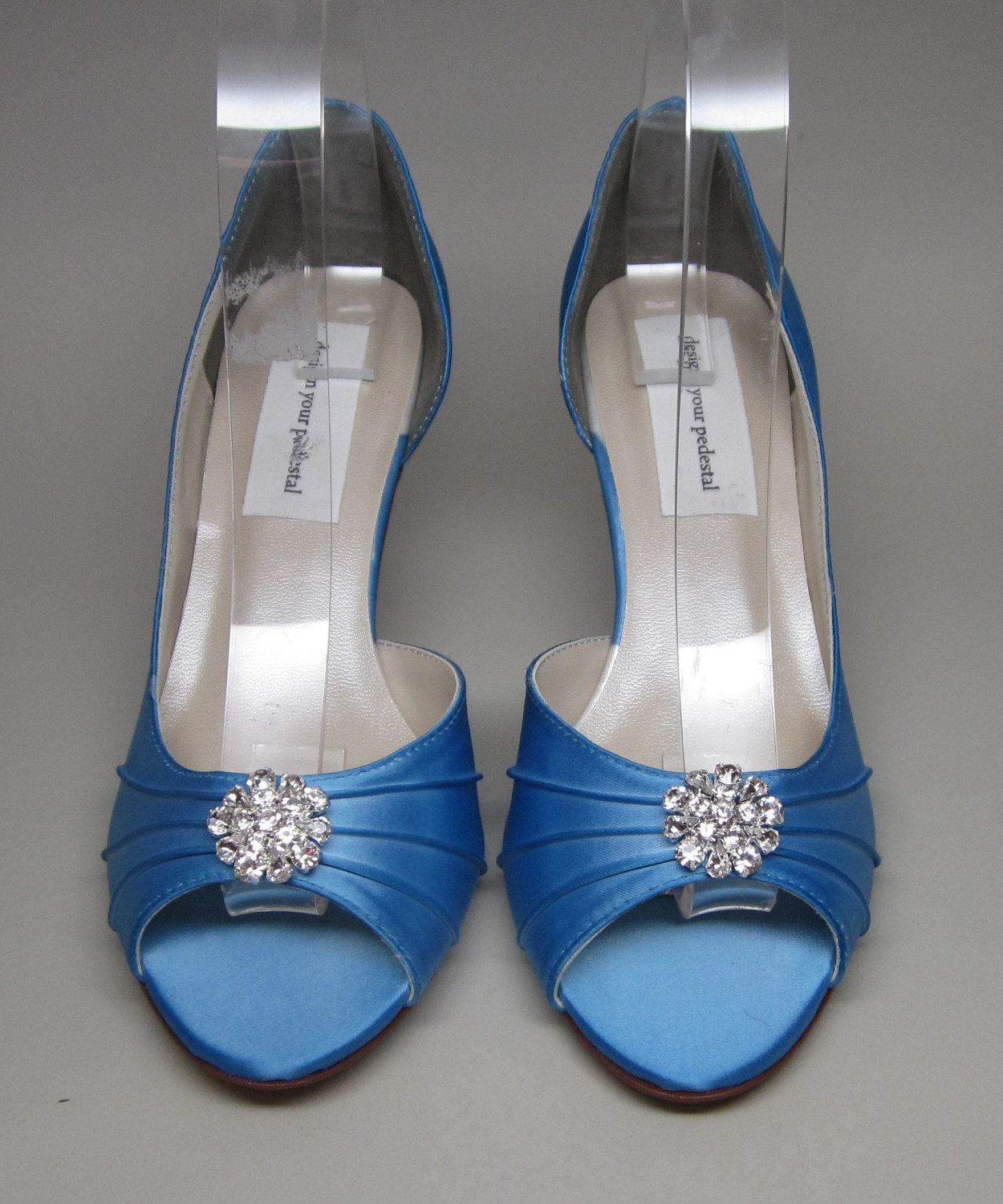 Sale Blue Wedding Shoes Cornflower Blue Kitten Heels With