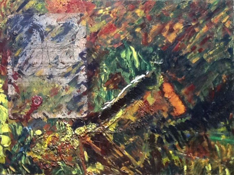 oleo y materiales diversos s/ tela en bastidor  50 x 70 cm.